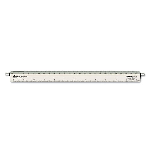 "Adjustable Triangular Scale Aluminum Architects Ruler, 12"""", Silver, Sold as 1 Each"
