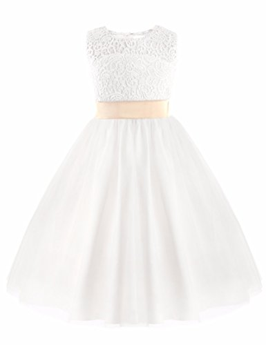 FEESHOW Flower Girls Kids Heart Cutout Back First Communion Dress Wedding Party Pageant Dress White 4 ()