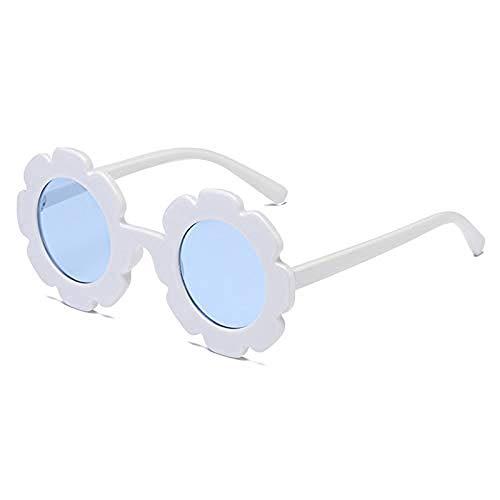 Toddler Kids Cute Vintage Flower Eyewear Sunglasses Sun Protection UV400 Summer Outdoor Glasses for Girls and Boys (White frame/blue ()