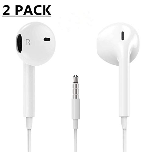 Earphones/Earbuds/Headphones with Stereo Mic&Remote Control Wired Earphones Noise Isolating in-Ear Headsets for Most 3.5mm Cable Jack Smartphones(2packs) by EHN666JG