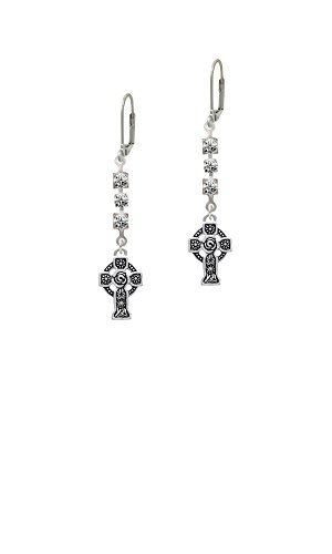 Large Celtic Cross - Crystal Madison Leverback Earrings