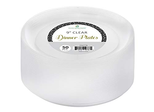 (Clear Disposable Plastic Plates Pack Of (50) Elegant Dinner Plates Wedding - Platter Plates - Party Plates - Fancy Disposable - Catering - Heavy Duty & Non-Toxic 9