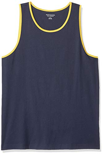 (Amazon Essentials Men's Regular-Fit Ringer Tank Top, Navy/Yellow, X-Small)