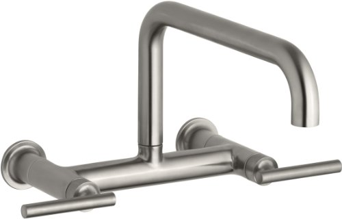 KOHLER K-7549-4-VS Purist Wall-Mount Bridge Faucet, Vibrant Stainless