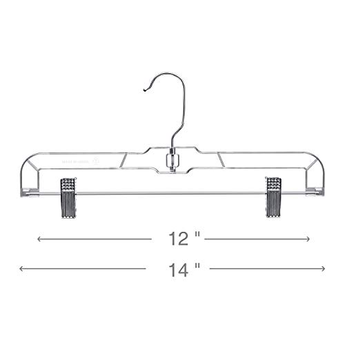 HOUSE DAY Skirts Hangers 14 inch Pack of 25 Clear Plastic Skirt Hangers with Clips, Pant Hangers, Bottom Hangers, Bulk Plastic Hangers