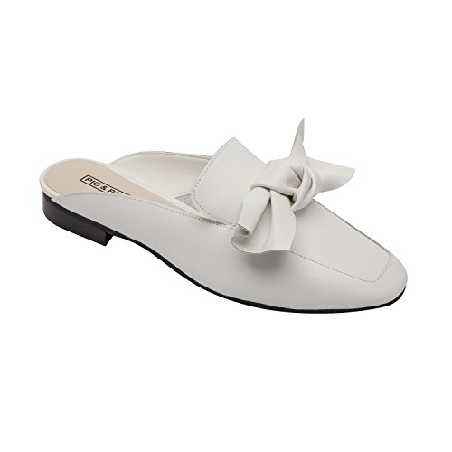 Dakota | Women's Bow Adorned Slip-On Comfortable Loafer Mule Leather Suede White Leather