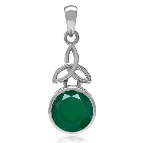 2.44ct 9MM Natural Round Shape Emerald Green Agate 925 Sterling Silver Triquetra Celtic Knot Pendant