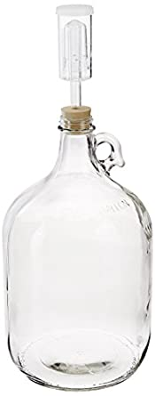 Home Brew Ohio Glass Wine Fermenter Includes Rubber Stopper and Airlock, 1 gallon Capacity