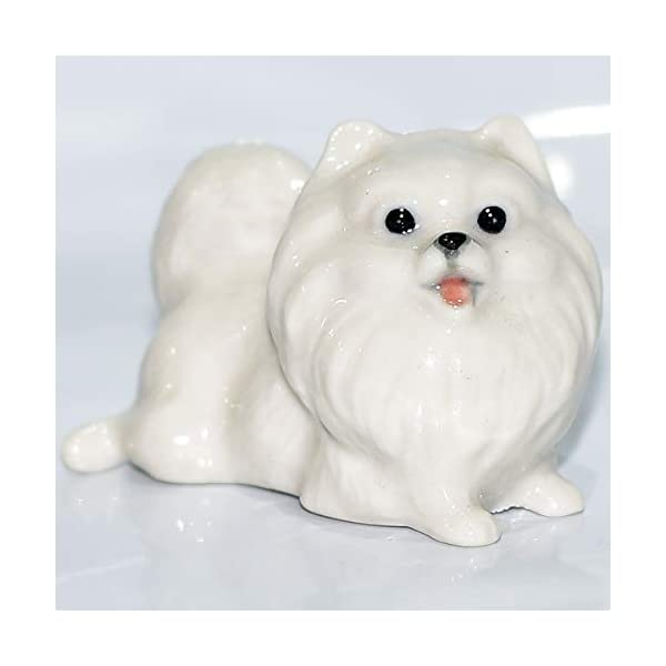 SSJSHOP Pomeranian Miniature Figurines Hand Painted Ceramic Animals Collectible Dog Lover Gift Home Decor, White Squat 1