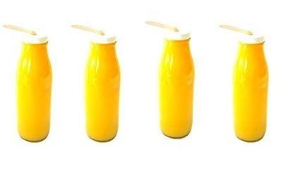 4botellas de leche/-Botellas de cristal (aprox. 500ml con Pajita