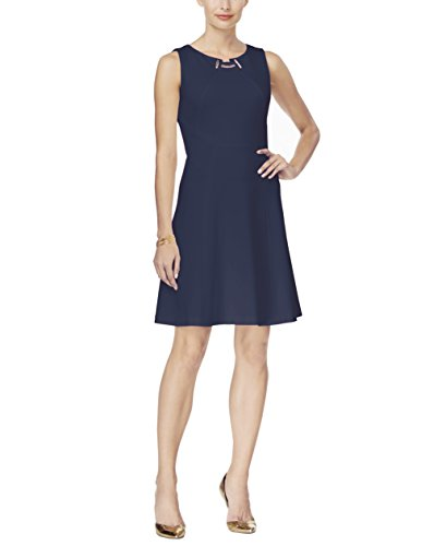 Ivanka Trump Women's Toggle Fit and Flare Dress (8, Navy)