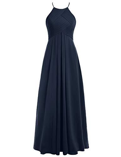 Linie A Neckholder Lang Hochzeitskleider Abendkleider Marineblau Ballkleider Rückenfrei Brautjungfernkleider 50W Chiffon wRPZ7q