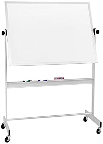 Best-Rite Deluxe Reversible Mobile Whiteboard, Porcelain Markerboard Both Sides, Aluminum Trim, Panel Size 4 x 5 Feet - Deluxe Aluminum Trim