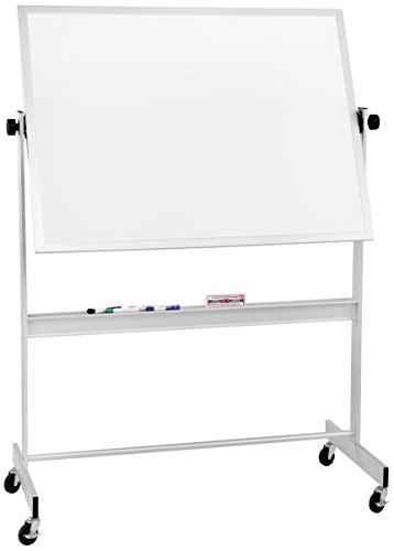 Best-Rite Deluxe Reversible Mobile Whiteboard, Combo Dura-Rite Markerboard/Natural Cork Bulletin, Aluminum Trim, Panel Size 4 x 6 Feet (668AG-HC)