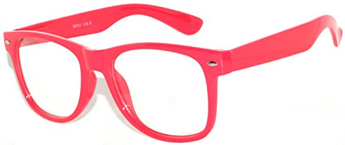 Owl ® Retro Style Vintage Sunglasses with Clear Lens Red Frame UV Protection, Hot -