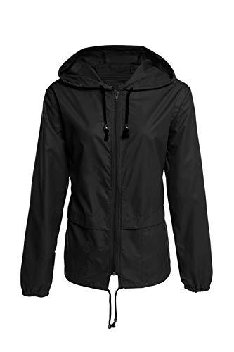Vestes À Noir Occasionnel Imperméables Capuche Femmes Solide Mince Léger x4O0xw