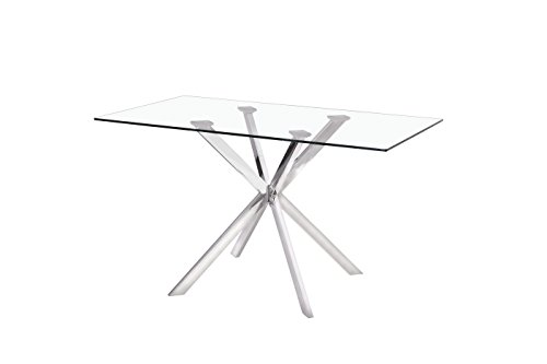 Uptown Club Linus Collection Rectangle Modern Exquisite Chrome Frame Glass Top Dining Room Table, 51.2