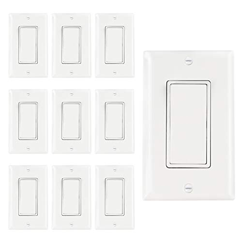 AbboTech Light Switch With Wall Plates Included,Decorative ON/OFF Wall Switch Single Pole,15A,120-270V,Residential&Commercial Grade,10 Pack,UL Listed,White ()
