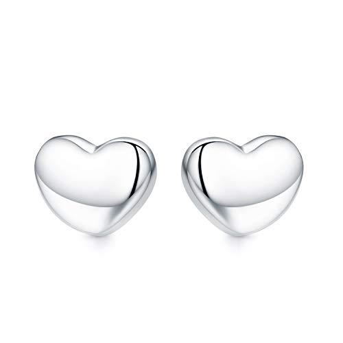JUSTKIDSTOY 925 Sterling Silver Heart Earrings Dainty Small Stud Earrings for Women Girls