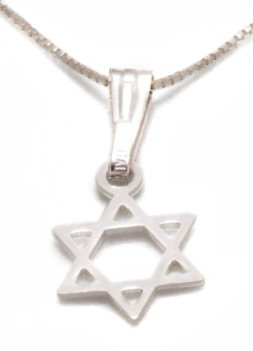 David Charm Elegant Star Of (925 Sterling Silver Tiny Star of David Necklace Charm Pendant, 18