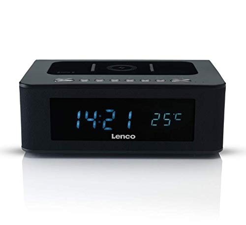 Lenco CR-580 horloge-radio, radiowekker met bluetooth, QI draadloos laadstation, NFC, USB en temperatuurweergave, zwart
