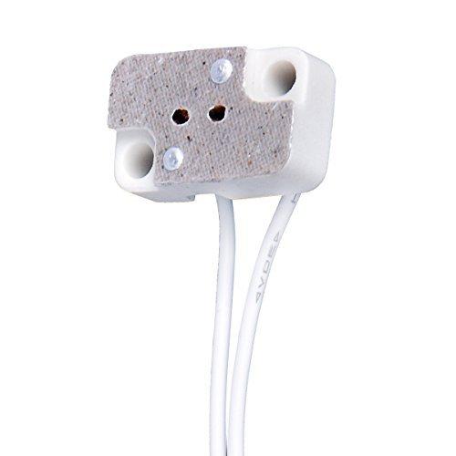 2 PCS MR16 MR11 Rectangular Porcelain Lamp Holder with 6'' Cable for G4 GX5.3 Bi-Pin Halogen Led Bulbs