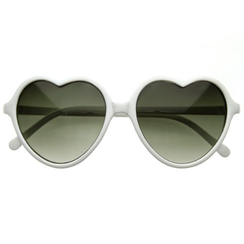 zeroUV - Large Oversized Thin Frame Lovely Heart Shaped Womens Fashion Sunglasses - White Sunglasses Ladies
