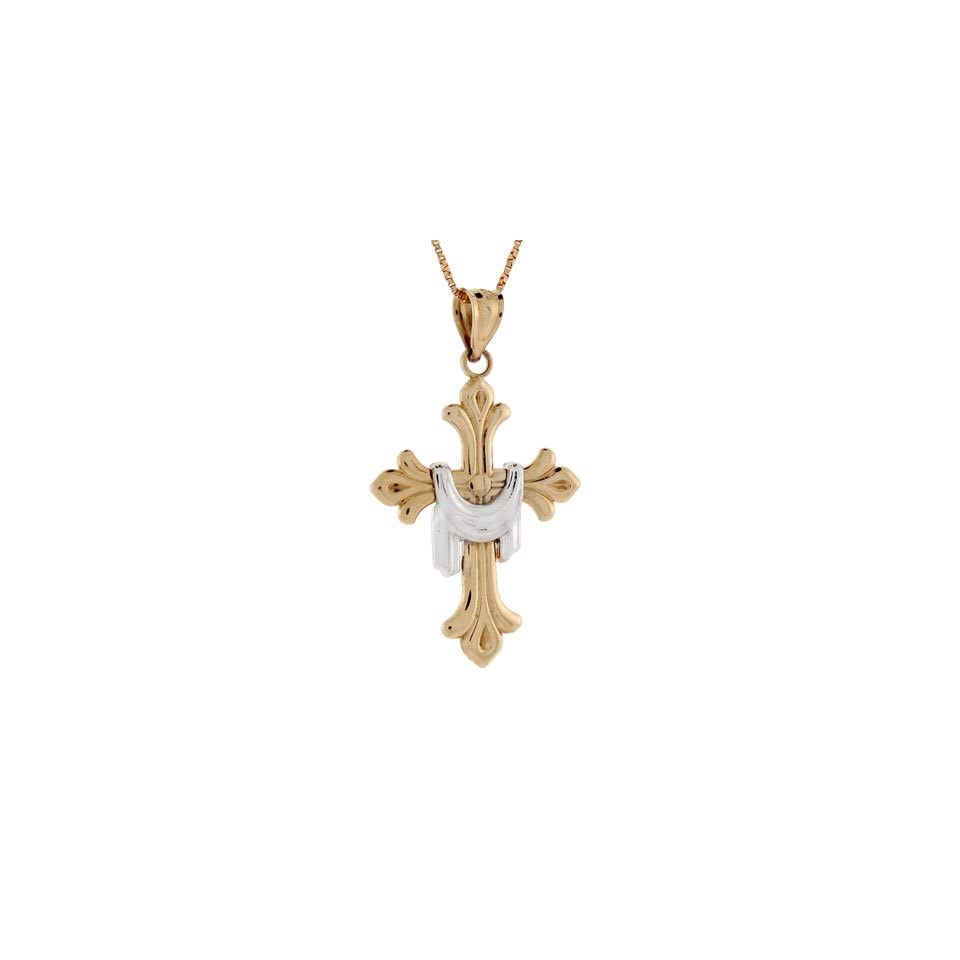 14k Two tone Gold Cross With Shroud Religious Pendant