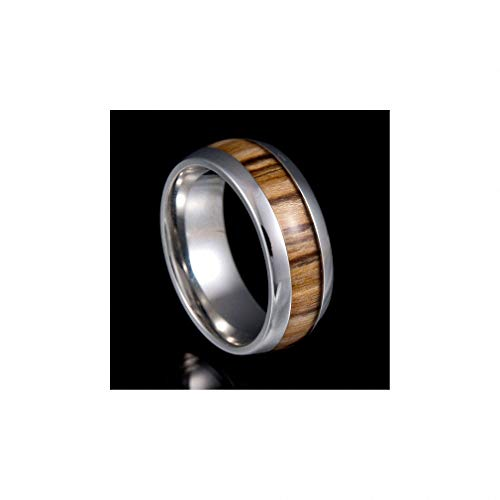 Womens Mens Ring Nature Koa Padauk Wood Inlay 316 L, used for sale  Delivered anywhere in Canada