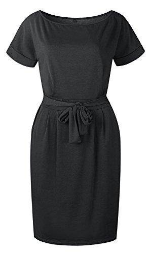 Negro Fiesta Vestido Moda Partido Mujer Slim Vendajes Midi Corta Cuello Lisos Manga Colores Elegante de Redondo con Vestidos Verano Cóctel z1UnH