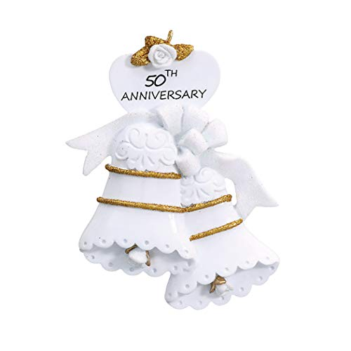 (Personalized 50th Anniversary Christmas Tree Ornament 2019 - Golden Glitter White Bells Year Fiftieth Celebration Just Gift Together Romantic Tradition Wedding Dated Engrave Gold - Free Customization)