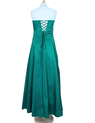 Satin Langes und Stola 34 Abendkleid Trägern Perlen und mit grün abnehmbaren Gr 42 2007 4qSqd