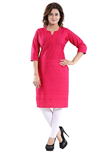 Queenshield Chikankari Kurtis for Women Cotton Chikan Kari Kurta Kurti Indian Dress for Girls Ladies (38-M, Hot Pink)