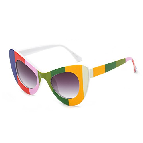 Cat Iris Oversized Eyewear Cateye Retro Huicai Degradado Womens de Round Arco Eye Rim sol Gris Bold Gafas w5CTCFqX