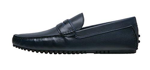 Shenbo Arow Vip Mens Äkta Läder Loafers Blå