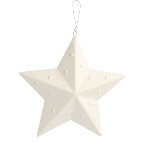 (Factory Direct Craft Small White Washed Shabby Chic Barn Star Ornaments with Embossed Stars (6 Pack))