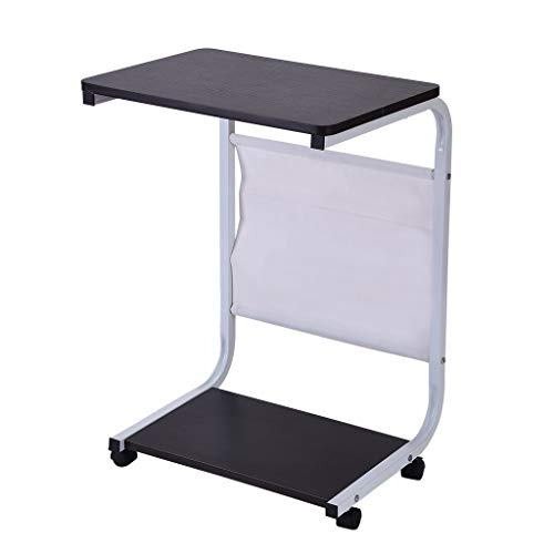 TANGON Laptop Rolling Cart Computer Stand Desk Large Wooden Table Top Folding Desk PC Home Office Workstation (Black)