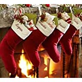 "healthybusiness1 5 Pc Christmas Stocking Personalized Red Velvet Xmas Gift Santa Sack Decor Size - 19"" x 9"""