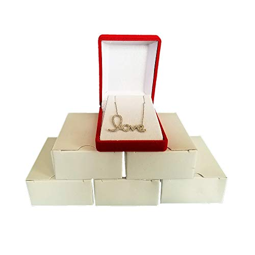 - 2 Red Elegant Flocked Velour Necklace Pendant Gift Boxes Jewelry Displays and Boxes