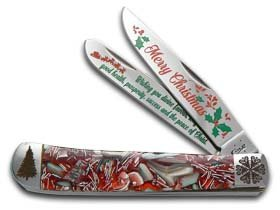 CASE XX PAINTED PONY Merry Christmas Red End Of Day Conch Shell Trapper 1/100 Pocket Knife