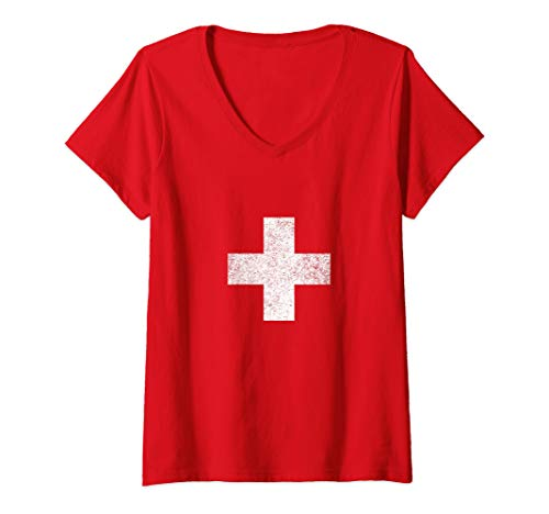 Womens Switzerland National flag colors distressed gift V-Neck -