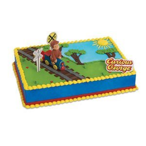 CURIOUS GEORGE Monkey TRAIN Party Cake Decoration Decorating Topper Set Kit by Lgp Curious George Cake Decoration