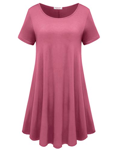 BELAROI Womens Comfy Swing Tunic Short Sleeve Solid T-Shirt Dress (S, Grayish Pink) (S/s Dry T-shirts)