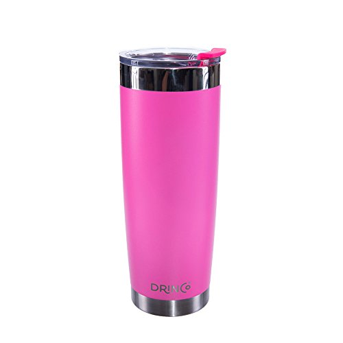 Drinco - Stainless Steel Tumbler | Double Wall Vacuum Insulated Mug | Travel Mug with Spill Proof Lid | Pink | Perfect for Camping & Traveling | Cruiser Cup | BPA Free | 20oz