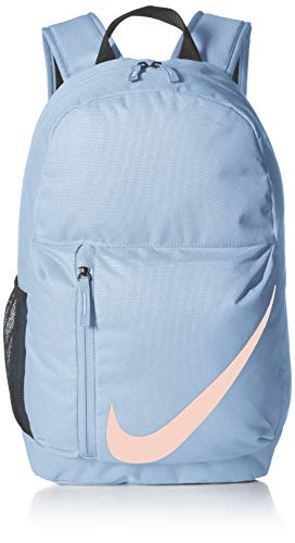 Nike Kids' Elemental Backpack, Kids' Backpack with Comfort and Secure Storage, Aluminum/Black/Crimson Tint