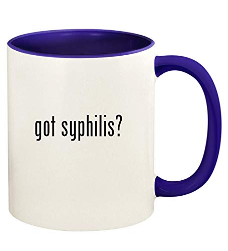 got syphilis? - 11oz Ceramic Colored Handle and Inside Coffee Mug Cup, Deep Purple