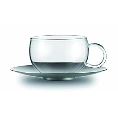 Jenaer Glass Concept Tea Collection Good Mood Glass Cup with Stainless Steel Saucer, 6.8-Ounce, Set of 2