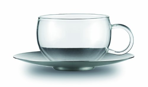 Jenaer Glas Concept Tea Collection Good Mood Glass Cup with Stainless Steel (Sterling Tea Saucer)