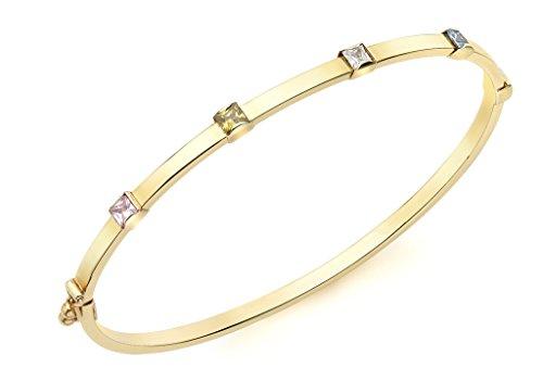 Bracelet Jonc or jaune 9carats Détails Multi Pierre Couleur Transparent