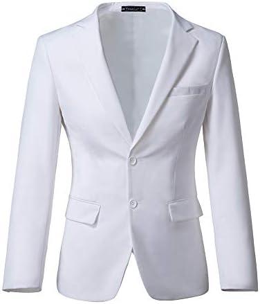 [해외]Yanlu 남성용 슬림핏 수트 재킷 노치 라펠 턱시도 블레이저 남성용 / Yanlu Mens Slim Fit Suit Jacket Notch Lapel Tuxedos Blazer for Men White